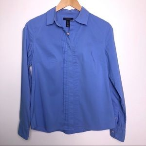 Lands' End Blue Blouse With Pintuck Pleats